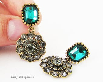 Green Crystal and Marcasite Vintage Style Earrings, Emerald Green Earrings, Green Vintage Style Wedding Earrings, Marcasite Earrings