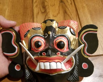 """Hand-Carved Wood Mask from Bali, Indonesia! Wall Art decor! Wood Carving 8"""" (B6)"""