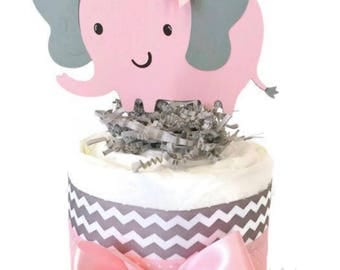 Mini Chevron Elephant Diaper Cake, Elephant Theme Baby Shower Centerpiece, Pink and Gray Chevron Elephant Diaper Cakes