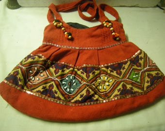 vtge purse-shoulder bag-boho style-cotton-sequins-perls-zipper--cotton-hippie bag-