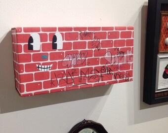 brick wall vintage box with vintage Austin tx Graffiti