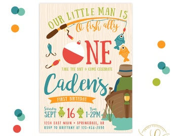 Fishing Invitation | Fishing Party | Fish Invitation | Boy Birthday Party Invitation | First Birthday Invitation | 1st Birthday Invitation