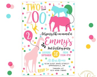 Party Animal Invitation   Party Like an Animal   Two is a Zoo   Second Birthday Invitation   2nd Birthday Invitation   Animal Party
