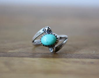 Petite Old Pawn Turquoise Sterling Silver Ring, Size 4 - Signed by G Davis