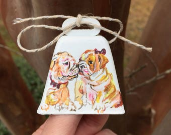 Miniature Cowbell: Two Bulldogs