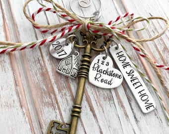 Home Sweet Home - Custom Christmas Ornament - House - Family - Housewarming Gift - First - New Home - Hand Stamped - Bronze Skeleton Key