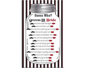 Guess Who Game, Bridal Shower Game, Mason Jar, Red Stripes, Black Stripes, Red Lips, Black Mustaches, Instant download, Couples Shower Game
