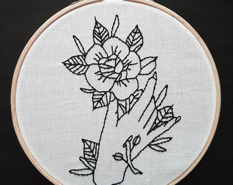 FRAMED Tattoo Flash Flower Hand Embroidery