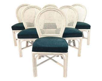 Vintage Set of 6 Twisted Rattan Bamboo Cane Back Dining Chairs