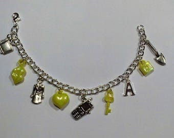 Yellow Pretty Little Liars Inspired Charm Bracelet