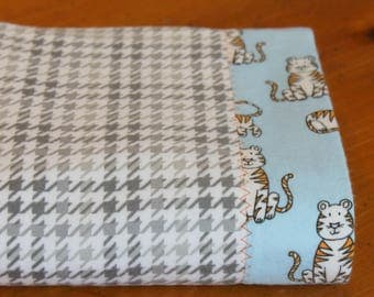 Tiger Baby Blanket, Personalized Baby Blanket, Cotton Flannel Receiving Blanket, Baby Boy Swaddle, Personalized Baby Blanket, Tiger Nursery