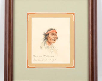 Olaf Wieghorst -Portrait of an Indian with a Red Bandana -Original Painting
