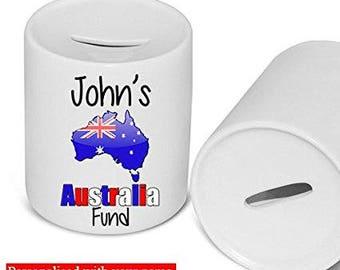 Australia Fund Money Box Piggy Bank Savings Jar Personalised