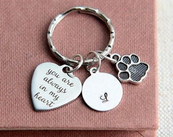 SALE Pet Memorial Keychain, Dog Memorial Keychain, Cat Memorial, Pet Loss Gift, Paw Print Keychain, Dog Lover Gift, You are always in my hea