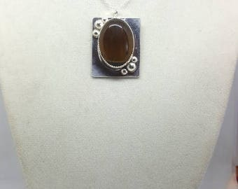 Fine Silver Pendant Necklace, Tiger eye cabochan