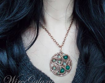 Copper medallion Chrysoprase Protection amulet Wire wrap Pendant Necklace Boho Gift for her Copper Jewelry Green stone Pendant Boho