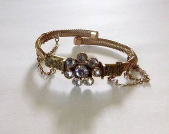 Victorian gold filled bangle wedding bracelet with Etruscan Revival design small size circa 1880