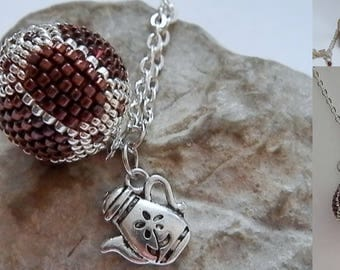 Burgundy and silver beaded Ball pendant