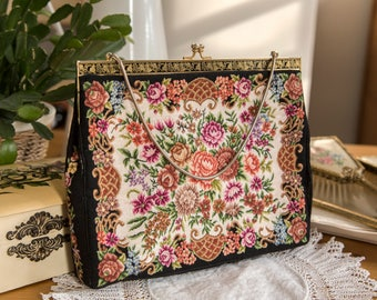 Vintage tapestry evening bag with snake chain handle and black silk lining