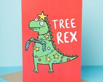 Christmas Dinosaur card - Tree Rex - Greeting Card - Funny Christmas card - Pun card - Katie Abey - Dino card