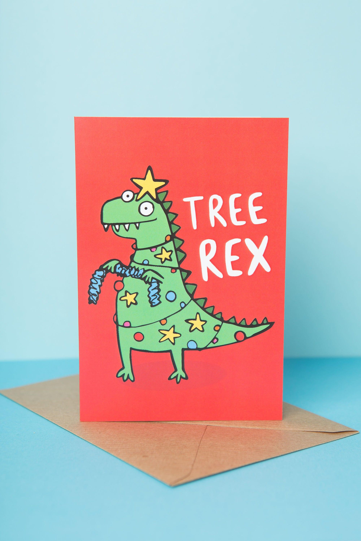 Christmas dinosaur card tree rex greeting funny