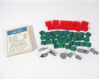 Vintage Monopoly Game Pieces Hotels Houses Real Estate Cards - Monopoly Pieces