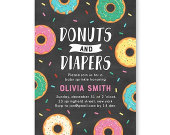 Donuts and Diapers Sprinkle Baby Shower Invite, Donuts Baby Shower, Donuts Sprinkle Invitation, Donuts & Diapers Girl Baby Shower