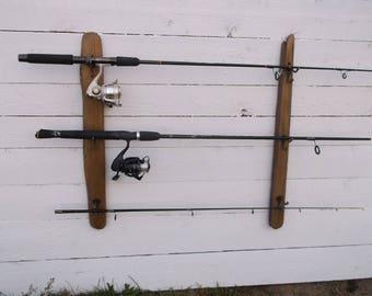 Fishing Pole Holder, Driftwood Wall Mount Fishing Rod Display, Holds 6 Fishing  Poles