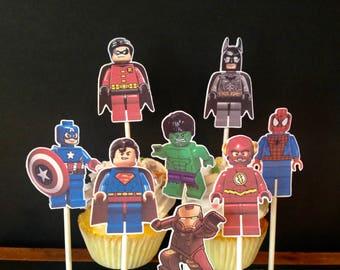lego superhero, superhero cake toppers, lego superhero decoration, cupcake toppers, superhero party,