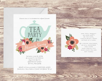 Tea Party Baby Shower Invitation with Book Insert Card, Invitation for Baby Shower Tea Party, Baby Sprinkle, Book Instead of Card Insert