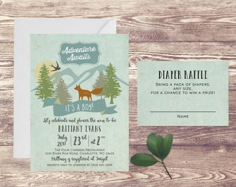 Adventure Awaits Baby Shower Invitation with Diaper Raffle Card, Adventure Baby Shower Invite, Baby Sprinkle, Couples Baby Shower Invitation