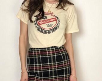 Vintage late 90's hi waist plaid wool mini skirt