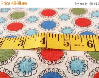Vintage 1960s Cotton Whimsical Atomic Print Fabric Circle Squiggles MCM