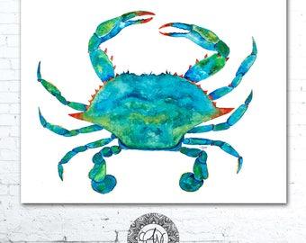 Crab, Blue Crab Watercolor Print, Blue Crab, Sea Life Watercolor, Blue Crab Print, Crab Print, Watercolor Prints, Coastal Wall Art