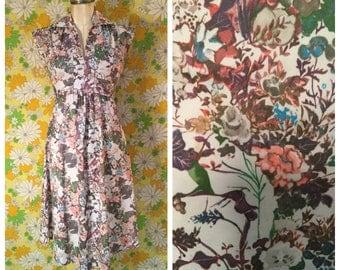 70s Vintage Floral Nature Print Dress Medium Large