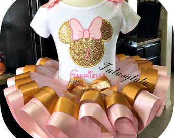 Minnie Mouse  God and pink Ribbon Trim Tutu set . For that special birthday