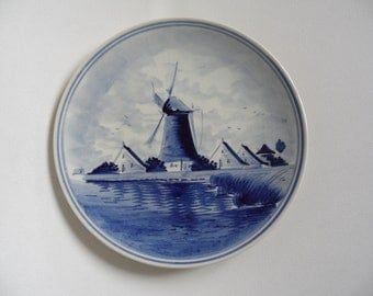 Delft blue wall plate,dutch porcelain,classical windmill pattern,handpainted,Delft Netherlands