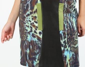 Original stretch straight skirt, revisited khaki Brown leopard print