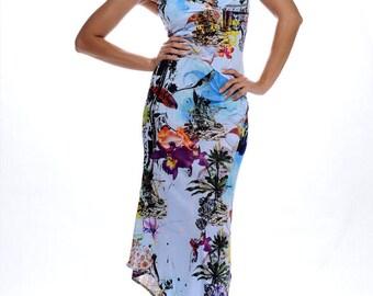 Long dress summer Blue Lagoon exotic patterns