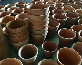 5 French Terra Cotta Starter Pots Authentic Handmade