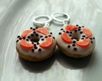 donuts donuts earrings funny food miniature food earrings whis donuts gift idea pastries cakes earrings tasty donuts coffe orange silver 925
