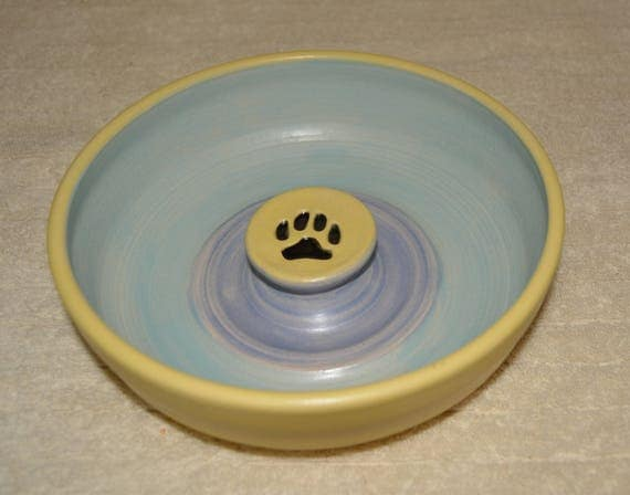 Pet Bowl, Dog Bowl, Water Bowl, Cat Bowl, Pet Food Bowl, Paw Prints, Pastel Yellow, Pastel Blue, Pastel Purple, Stoneware, Ceramic Bowl,