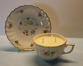 2 in 1 Gift Iced Lemon Danish Vintage Teacup and Saucer Soy Candle