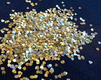 solvent-resistant glitter shapes-light gold hologram extra-small hearts