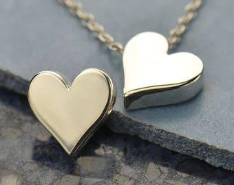 Heart Bead Sterling Silver Sideways Heart Bead