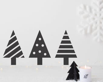 Set of three mini Trees Wall Sticker-Decal-Wall Sticker-Christmas-Christmas Tree-Xmas-Home Decor-Wall Decals-Nordic