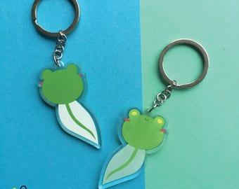 """Tadpole Floris the Frog   2"""" Acrylic Clear Charm double sided   keychain phone strap"""