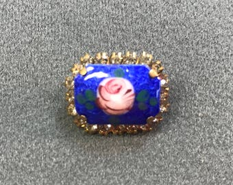 Pretty Little Blue Guilloche Enamel and Rhinestone Brooch . Free shipping