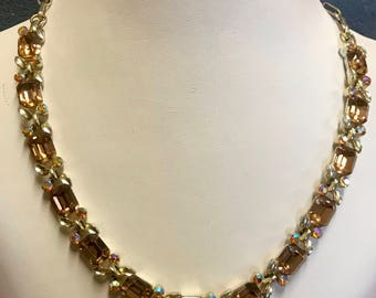 Sparkly Aurora Borealis Rhinestone Signed Lisner Necklace-As is. Free shipping.