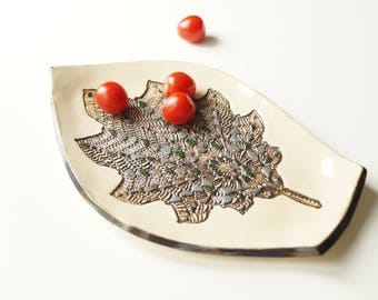 Serving Plate, Ceramic Plate, Appetizer Plate, Ceramic Tray, Ceramics and Pottery, Leaf Plate, Housewares, Serving Snacks Tray, Serving Dish